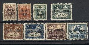 Eastern Silesia #42,43,45-50  Mint VF 1920 PD