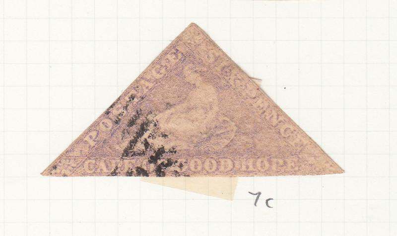 CAPE OF GOOD HOPE TRIANGLE 1855 6D LILAC SG7C USED