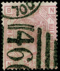 SG139, 2½d rosy mauve PLATE 1, USED. Cat £90. WMK ANCHOR. NB