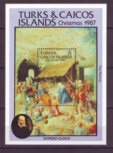 Z496 Jlstamps 1987 turks & caicos s/s mnh #723 christmas
