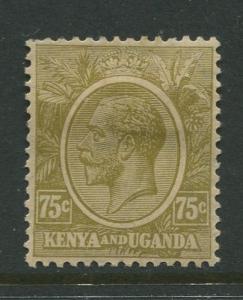 Kenya & Uganda - Scott 28 - KGV Definitive -1922 - MH- Single 75c Stamp