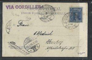 CHILE  (P3108B) 1906  5C COLUMBUS ON PPC VALPARAISO TO GERMANY