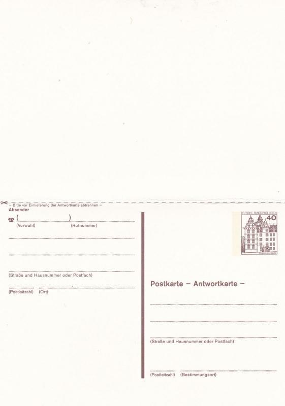 West Berlin 40pfg Prepaid Postcard with Reply Unused VGC