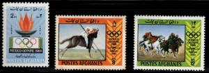 Afghanistan Scott 780-782 MH* Mexico Olympic Games set 1968