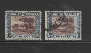 SOUTH WEST AFRICA #115a-b  1931-7  BUSH SCENE    F-VF USED   a