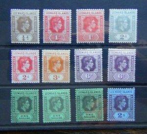 Leeward Islands 1938 - 1951 values to 2s MM 3d Yellow toned