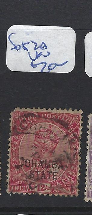 INDIA CHAMBA  (P2807B)    KGV   8A  SG 52A   FU  UR CORNER ROUNDED