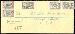 EDW1949SELL : NIGERIA Nice Usage on 1957 Registered Letter Envelope to USA.