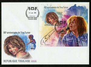 TOGO 2019  80th ANNIVERSARY OF TINA TURNER  SOUVENIR SHEET FIRST DAY COVER