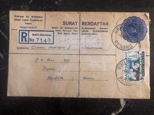 1966 Penang Malaya Registered Letter Cover Locally Used