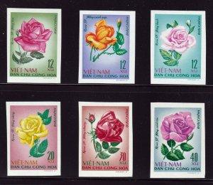 North Viet Nam - 1968 - Sc 495 - 500  - Roses - Imperforation - MNH