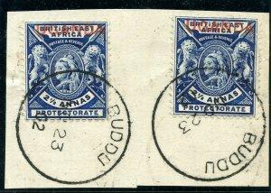 Uganda 1902 QV 2½a deep blue (x2) used on piece cancelled with BUDDU cds. SG 93.