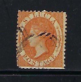 ST. LUCIA SCOTT #10A 1864 VICTORIA PERF 12 1/2 - WMK 1 (ORANGE) USED