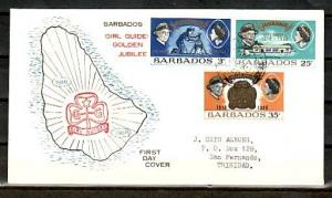 Barbados, Scott cat. 306-308. Girl Guides, 50th Anniversary. First day cover. ^
