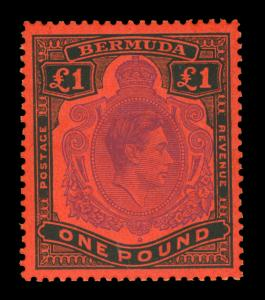 BERMUDA  1942  KGVI  £1 black & violet salmon  Scott# 128b mint MNH VF