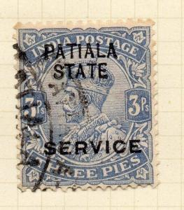 Indian States Patiala 1913 Early Issue Fine Used 3p. Optd 075626