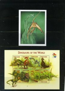 SIERRA LEONE 2001 PREHISTORIC ANIMALS/DINOSAURS SHEET OF 8 STAMPS & S/S MNH