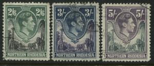 Northern Rhodesia KGVI 1938 2/6d, 3/, and 5/ used