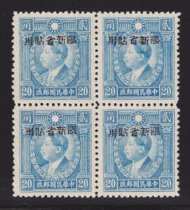 China, Sinkiang Sc 197 MNH. 1943 20c Lt. Blue, Block