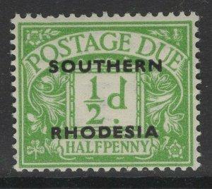 SOUTHERN RHODESIA SGD1 1951 ½d EMERALD MNH