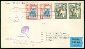 FIJI : 1941 First Flight cover with 2 good 5 pence values.