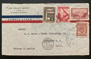 1942 Guayaquil Ecuador Airmail Commercial Cover To Syracuse NY USA