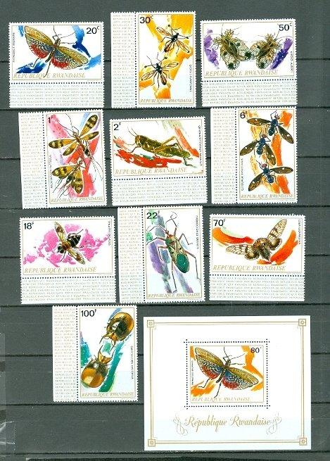 RWANDA 1973 INSECTS-BUTTERFLY #495-505  SET & SOUV. SHEET MNH...$23.20