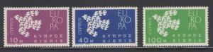 Cyprus 1962 Europa Scott # 201 - 203 MNH