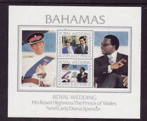 Bahamas-Sc#491a-unused NH sheet-Royal Wedding-Princess Diana-1981-