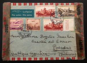 1943 Lausanne Switzerland Censored airmail cover To Posadas Argentina Missionary