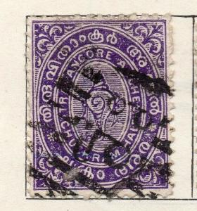 Travancore 1903-04 Early Issue Fine Used 1/2ch. 322513