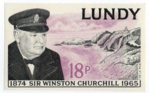(I.B-JA) Cinderella Collection : Lundy Churchill 18p (imperforate proof)