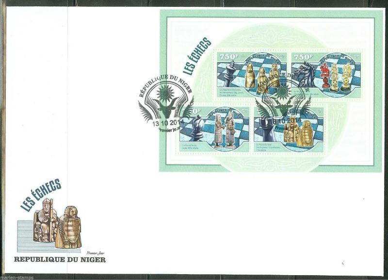 NIGER  2014  CHESS PIECES  SHEET FIRST DAY COVER