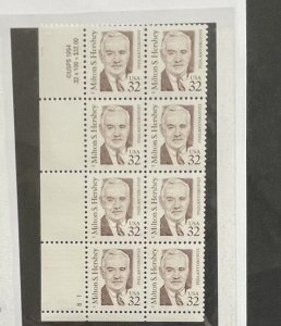 US 1995 Milton S. Hershey 32c #2933 Block of 8 Both plate number and copywrite