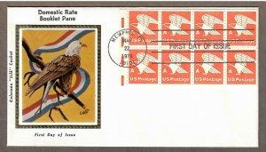 US # 1736a Eagle , A Stamp Booklet Pane , Colorano Silk FDC - I Combine S/H