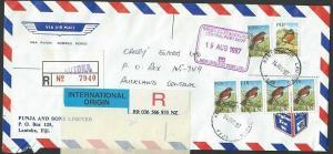 FIJI 1992 registered airmail cover ex LAUTOKA to New Zealand...............10403