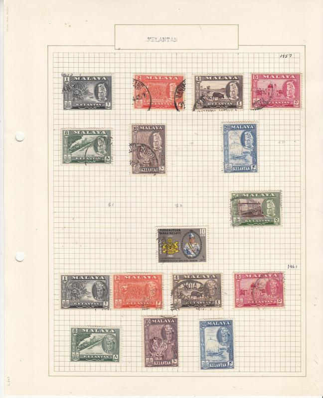MALAYA KELANTAN 1957-65 On old Album page MINT/FINE USED