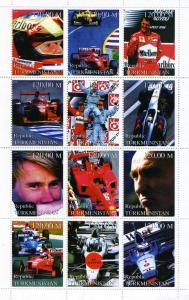 Turkmenistan 1999 Racing Drivers Schumacher-Senna Sheet Perforated mnh.vf