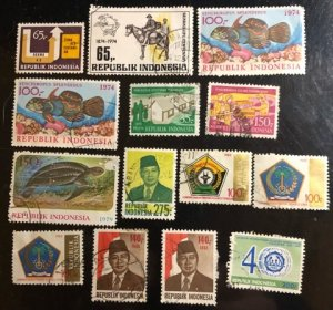 Indonesia Scott#921...1518 Used Group of 14 F/VF to XF Cat. $6.70