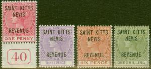 St Kitts & Nevis 1885 Revenue set of 4 SGR3-R6 Fine & Fresh Lightly Mtd Mint