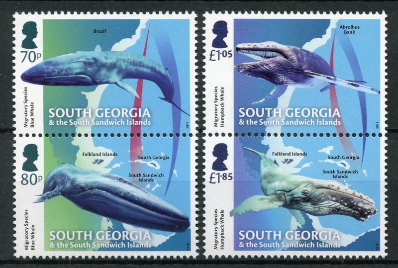 South Georgia & Sandwich Islands 2018 MNH Migratory Species Whales 4v Set Stamps