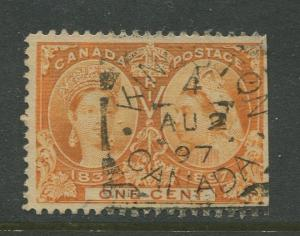 Canada - Scott 51 - QV Jubilee Issue - 1897 - Used - Single 1c Stamp