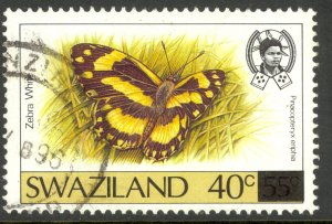 SWAZILAND 1990 40c on 55c Surcharged BUTTERFLIES Issue Sc 577 VFU