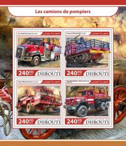 DJIBUTI - 2017 - Fire Trucks - Perf 4v Sheet - MNH