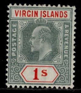 BRITISH VIRGIN ISLANDS EDVII SG60, 1s green & scarlet, M MINT.