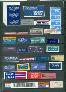 AIR MAIL STICKERS & OTHERS WORLDWIDE LOT of 100...MINT/USED