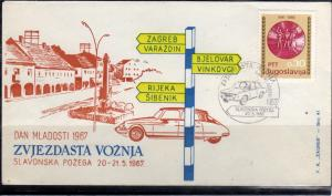 JUGOSLAVIA YUGOSLAVIA 20-21 5 1967 CARS RALLY DAN MLADOSTI COVER SPECIAL CANCEL