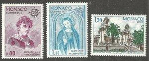 MONACO 1975 EUROPA-CEPT ART & ARCHITECTURE Mint Never Hinged  WYSIWYG Lot