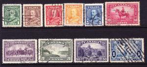 CANADA 1935 KGV PICTORIALS PART SET 10  FU  Sc 217/27
