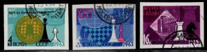 Russia Scott 2742-2744 Used CTO Imperforate Chess Championship stamp set
